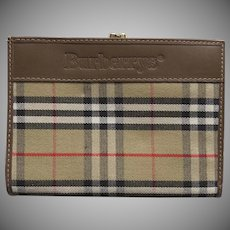 Vintage Burberry Burberry's Leather Nova Check Wallet Coin Purse Made in Italy 1990's