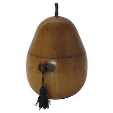 English George III Fruitwood Pear Shaped Tea Caddy