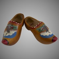 Vintage Hand Painted Wooden Shoes Holland Dutch Windmill