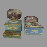 Vintage Advertising Candy Tins Set of Five