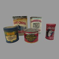 Vintage Advertising Tins Set of Five