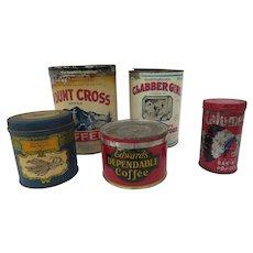 Vintage Advertising Tins Set of Five