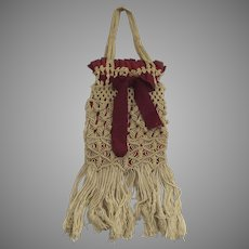 19th Century Macrame Purse with Red Silk Ribbon Tie
