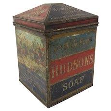 Vintage Tin Advertising Hudson Soap String Holder