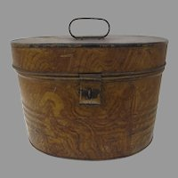 19th Century Tole Faux Painted Hat Box English