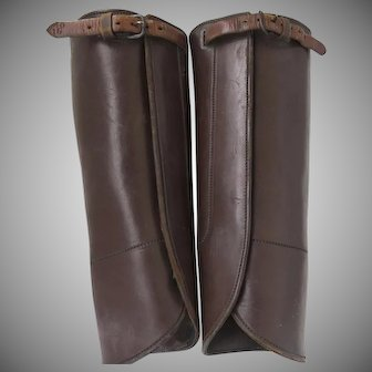 19th English Leather Gaiters Half Chaps Equestrian