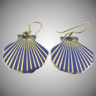 """Vintage Laurel Burch Blue & Green Enamel Earrings Signed """"Sea Shell"""""""