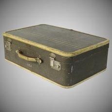 Vintage Oshkosh Luggage Tweed Hard Body Suitcase 1940s