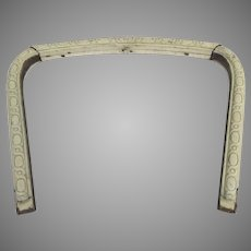 19th Century Architectural Arch Window Frame Carved Painted