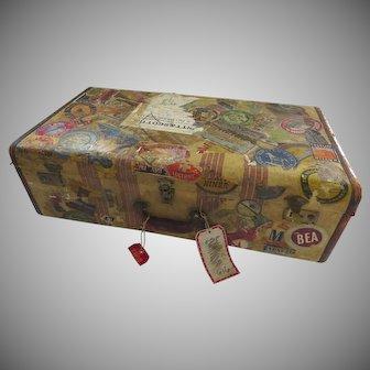 Vintage Oshkosh Chief Suitcase c 1950 1940 Tons of Labels Prop