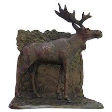 Vintage Austrian Austria Bronze Cold Painted Bookend Moose