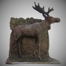 Vintage Austrian Austria Bronze Cold Painted Bookend Moose