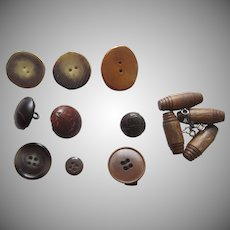 Group of Vintage Buttons Leather Horn Wood