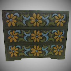 Vintage Mod 1970's Painted Jewelry Box with Drawers