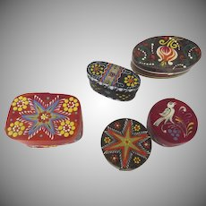 Group of Five (5) Hand Painted Heimatwerk Empfohlen Vom Salzburger Folk Art Miniature Pantry Boxes