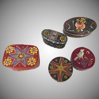 Group of Five (5) Hand Painted Heimatwerk Empfohlen Vom Salzburger Folk Art Miniature Pantry Boxes