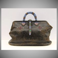 Vintage Leather Native American Plains Beaded Doctor's Bag