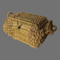 Late 1800's Early 1900's Straw Woven Sewing Box Basket Storage