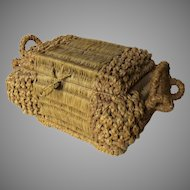 Late 1800's Early 1900's Straw Woven Sewing Box Basket