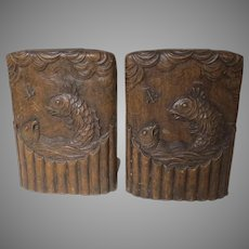 Vintage SYROCO  Bookends Fish Jumping Catching Fly