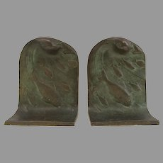 Vintage Bronze Bookends by Gorham Foundry School of Fish Ocean Waves