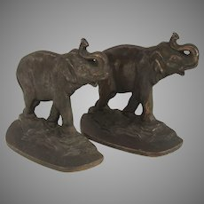 Pair of Connecticut Foundry Elephant Bookends Trunks Up