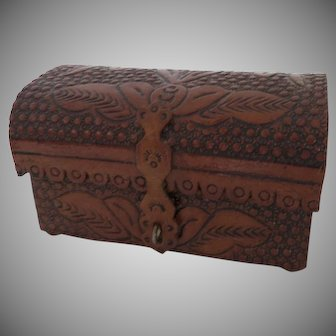 Vintage Hand Tooled Leather Small Jewelry Box Cufflinks