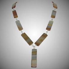Vintage Agate Quartz Necklace Cooper Gold Colored Bands