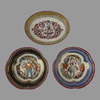 Vintage Steinbock Enamel Gilt Dishes Set of 3
