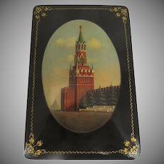 Vintage 1960s Russian Lacquer Box Hand-Painted Scene of Kremlin Signed