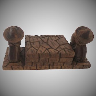 Carved Wooden Box with Seated Mexican Figures Sombreros