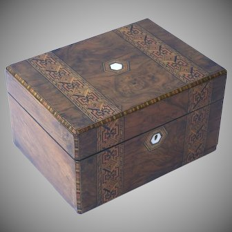 Tunbridge  Burl Walnut Gentleman's Dressing Box Geometric Inlay Design