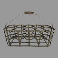 Vintage French Handmade Zinc 10 Bottle Wine Carrier Caddy Basket