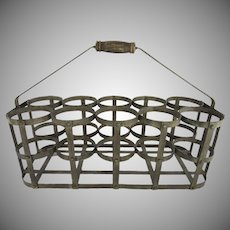 Vintage French Handmade Zinc 10 Bottle Wine Carrier Caddy Basket