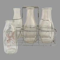 Vintage Wire Coiled Milk Bottle Carrier and Bottles