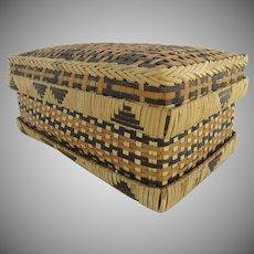 Vintage Handmade Rectangular Basket Box with Lid