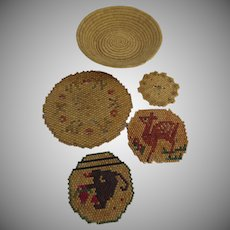 Vintage Group of 4 x Mexican Wood Beaded Trivets & Basket