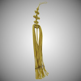 Oriental Vintage Yellow Cord Gold Thread Knot Tassel
