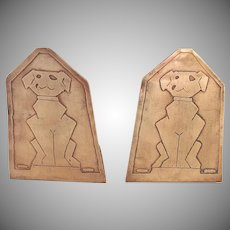 Early 20th Century Copper Dog Bookends Pair