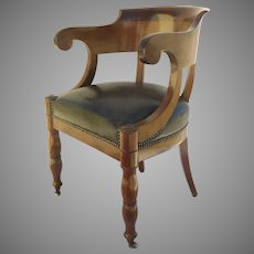 French Mahogany Empire Arm Chair Upholstered Seat