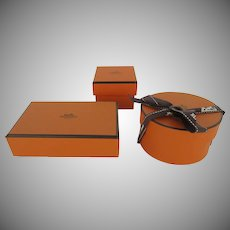 Group of Three (3) Vintage Hermes Empty Small Gift Storage Boxes
