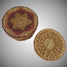 Two Vintage Vintage Small Sweetgrass Baskets with Lids