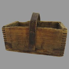 Primitive Wood Basket Carrier with Leather Handle