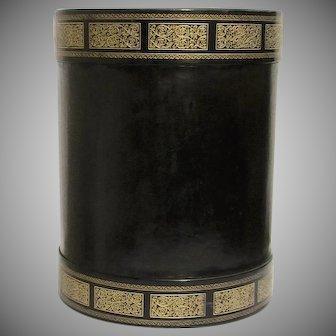 Vintage Italian Florentine Black Tooled Leather Wastebasket
