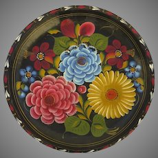 Vintage Hand Painted Folk Batea Wooden Bowl Tray Mexico