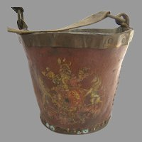 19th Century Red Leather Fire Bucket British Armorial Copper Rivets
