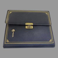 1920's Slate French Blue Leather Tooled Writing Stationery Case by C. F. Rumpp & Sons