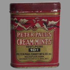Vintage  1920's to 1930's Peter Paul Cream Mints Tin Red