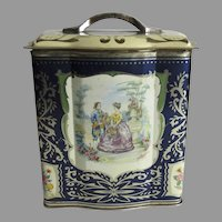Vintage Biscuit Tin Shaped with Handle French Scenes
