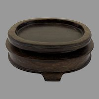 Chinese Oval Rosewood Hardwood Stand Display Base with Feet